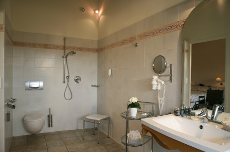 Big bathroom with shower for wheelchairs and specially equipped bath, WC and lavabo