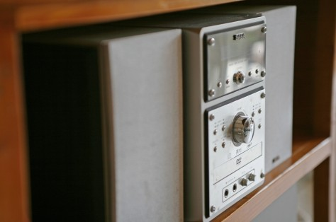 Each room is equipped with a small stereo system