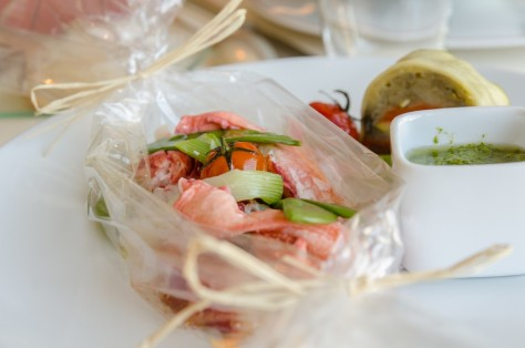 Lobster steamed in a papillote